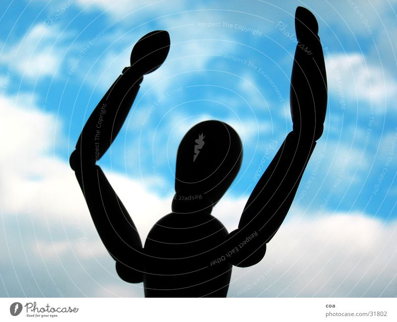 Put your hands up! Manikin Clouds White Black Obscure Sky Blue Shadow Joy Arm
