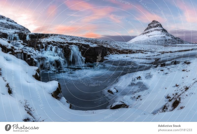 Iceland landscape kirkjufell Mountain Winter Landscape Nature Sky Snæfellsnes Waterfall Beautiful Snow Blue Vacation & Travel Exterior shot Cold White