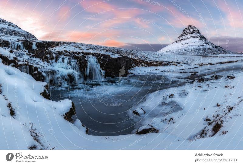 Iceland landscape Mountain Winter Landscape Nature Sky Snæfellsnes Waterfall