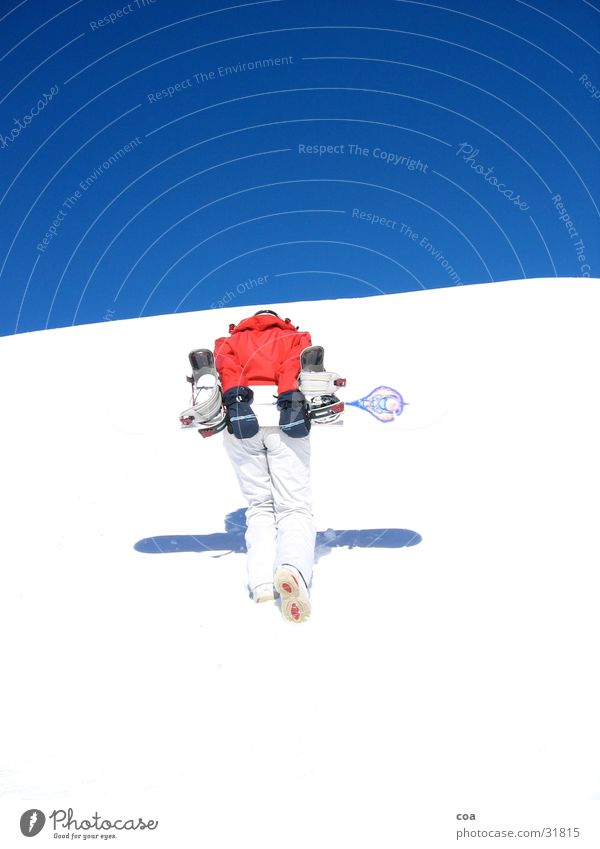ascent Winter Snowboard Red White Go up Sports Blue Shadow Winter sports Carrying Effort 1 Snowboarder Upward Blue sky Bright Colours Ski run Cloudless sky