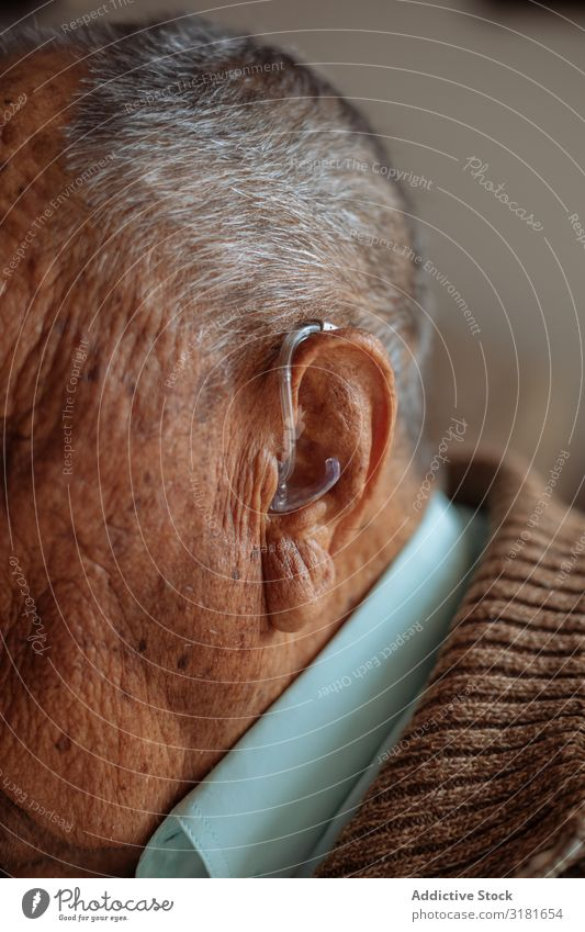 Detail of a hearing aid Sense of hearing Technology Old device deaf Man Ear Close-up Human being Equipment Considerate Medication instrument Illness Healthy Age