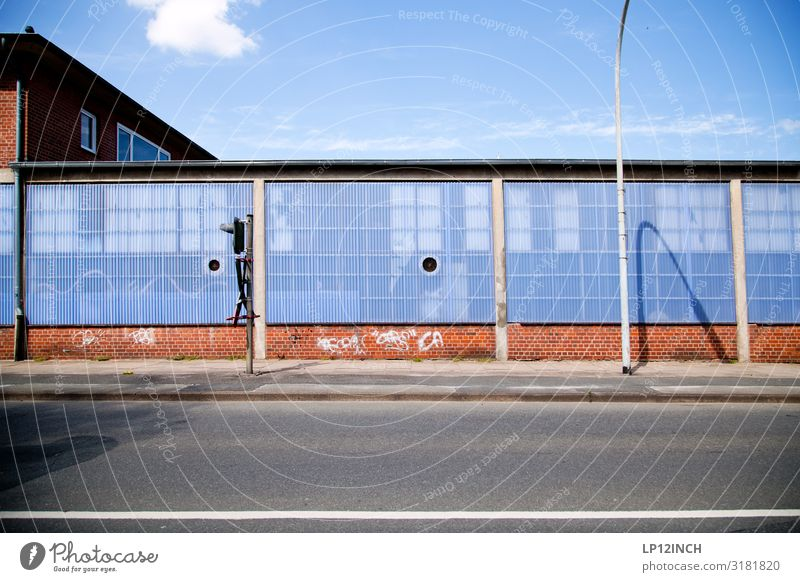 Blue Red Street Wall (building) Building Germany Wall (barrier) Facade Gray Transport Street lighting Factory Traffic infrastructure Craft (trade) Outskirts