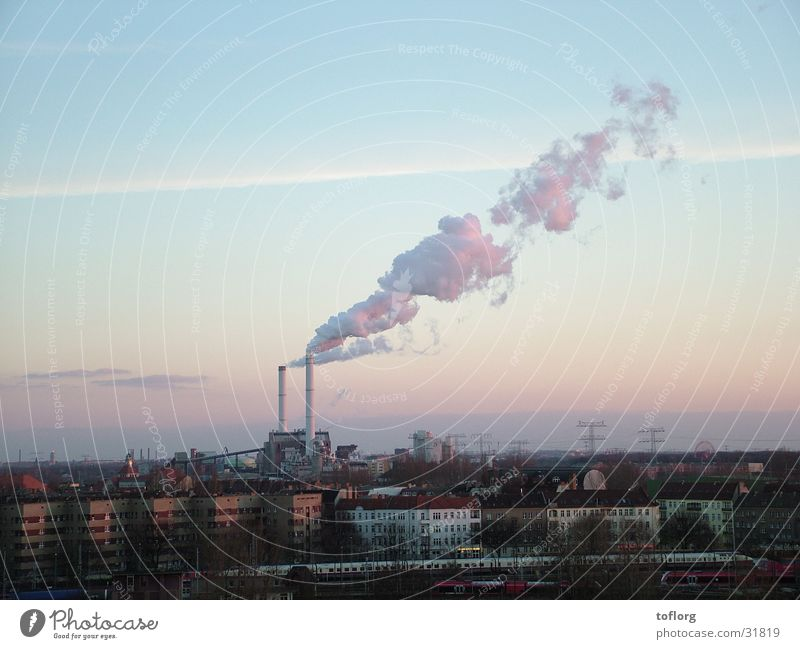 City Clouds Berlin Environment Industry Smoke Chimney Electricity generating station