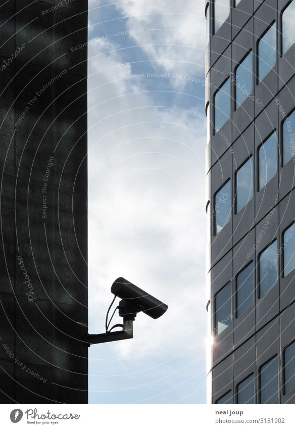I spy -III- Video camera Surveillance camera Frankfurt High-rise Bank building Facade Observe Town Blue Gray Protection Watchfulness Truth Honest Fear Dangerous
