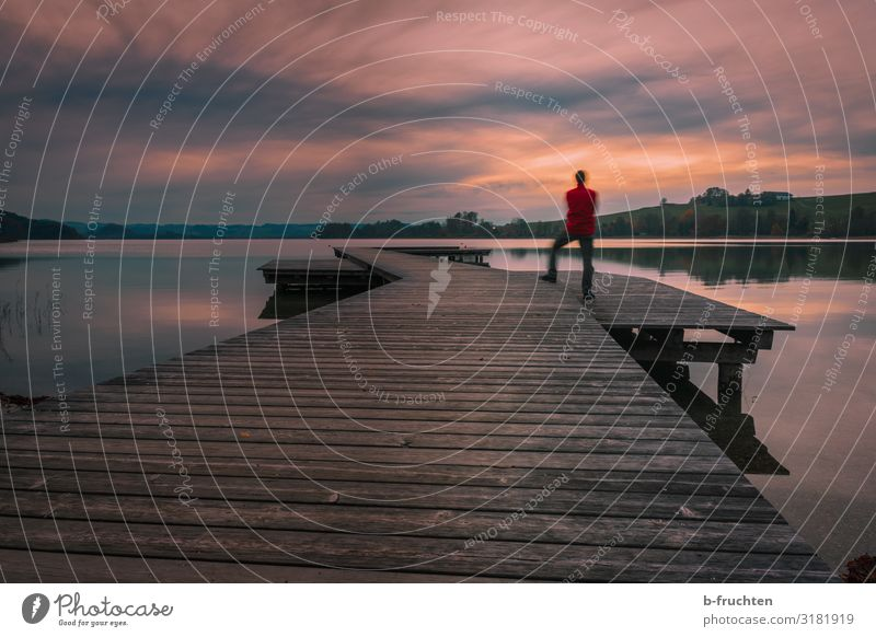 The day ends. Harmonious Contentment Calm Far-off places Freedom Man Adults 1 Human being Nature Landscape Sky Clouds Autumn Lakeside Observe To enjoy Stand