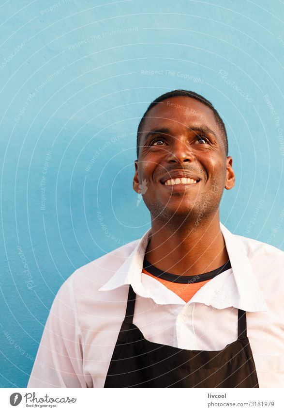 young waiter at the restaurant door, trinidad - cuba Lifestyle Happy Island Human being Masculine Young man Youth (Young adults) Man Adults Head Face Eyes Nose