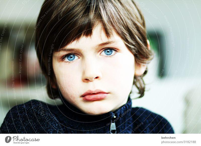 . Love Son portrait Contrast Light Day Close-up Longing Meditative Intensive Earnest Colour photo Interior shot Concern Lips Mouth Face Infancy Boy (child) Eyes