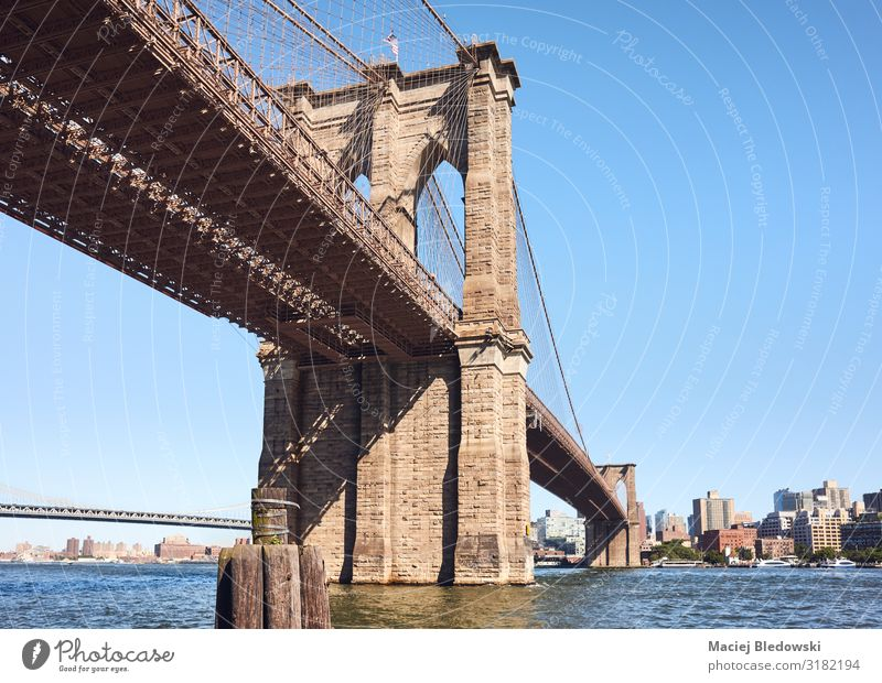 Brooklyn Bridge on a sunny day, NYC. Vacation & Travel Sightseeing City trip Summer Sky River Town Architecture Tourist Attraction Landmark New York cityscape