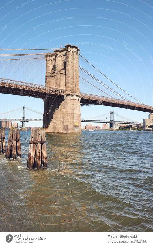 Brooklyn Bridge and East River on a sunny day, NYC. Vacation & Travel Sightseeing City trip Summer Sky New York cityscape travel destination landmark USA water