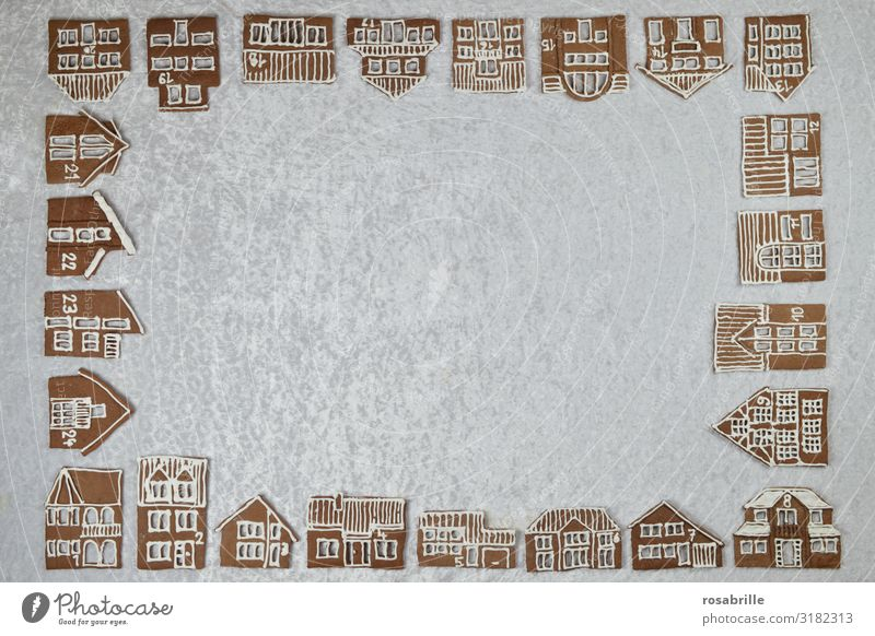 Gingerbread City Advent Calendar Beautiful Winter Snow House (Residential Structure) Decoration Christmas & Advent Village Town Window Sweet White Anticipation