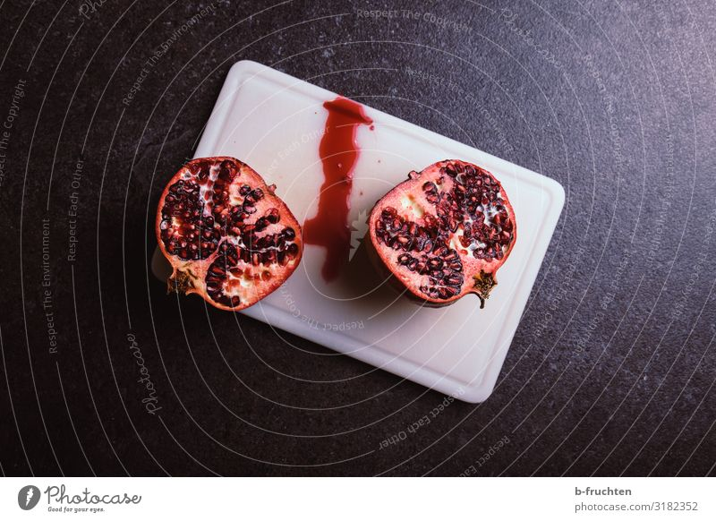 pomegranate Food Fruit Nutrition Organic produce Vegetarian diet Healthy Healthy Eating Select To enjoy Fresh Division Half Pomegranate Chopping board