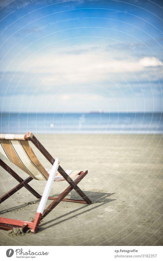 Sun deck no. 2 Vacation & Travel Summer Summer vacation Sunbathing Beach Ocean Waves Beautiful weather North Sea Joie de vivre (Vitality) Anticipation Deckchair