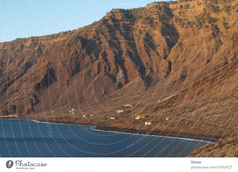 Cliff and coastal landscape. Las Playas Natural Monument. Valverde. El Hierro. Canary Islands. Spain. Nature Landscape Water Mountain Coast Bay Atlantic Ocean