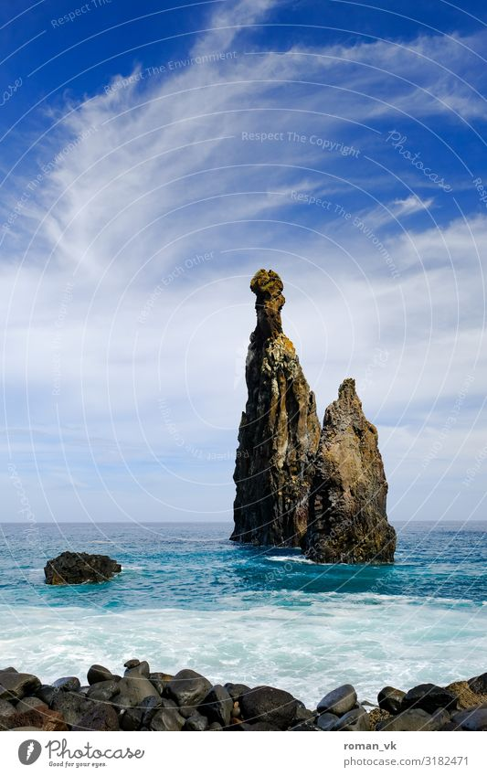 the rock in the surf Environment Nature Landscape Plant Elements Earth Water Sky Clouds Weather Beautiful weather Rock Lakeside Ocean Island Threat Famousness