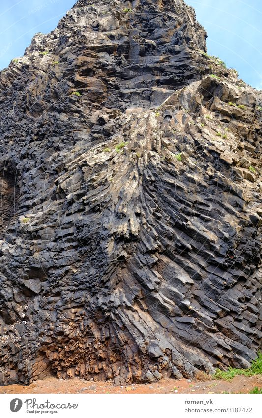 Basalt columns on a wrong track Environment Nature Landscape Elements Earth Rock Exceptional Gigantic Cold Gray stele Chaos grow together Muddled Volcanic