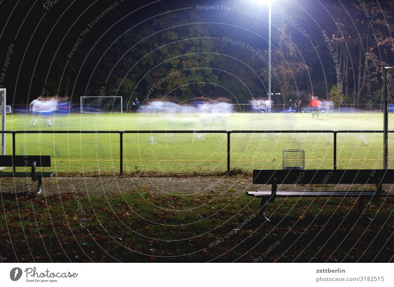 Dark Sports Playing Field Soccer Foot ball Bench Playing field Grass surface Audience Floodlight Ball sports League