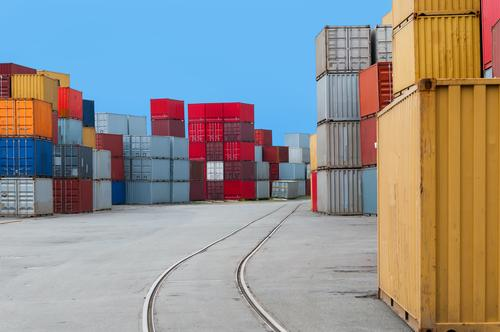 Colour Germany Europe Arrangement Industry Logistics Harbour Many Industrial Photography Railroad tracks Mobility Storage Stack Container Containers and vessels