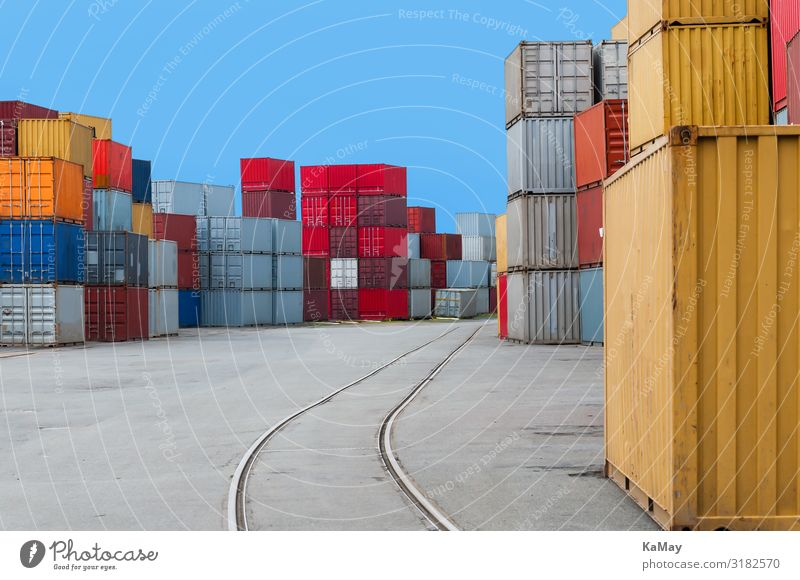 harbor Germany North German Bremen Europe Harbour Container Rail transport Railroad tracks Colour Mobility Arrangement Logistics Goods Multicoloured Stack Many