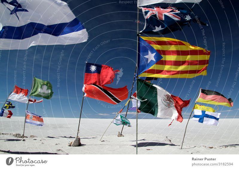 Numerous flags in Salar de Uyuni, Bolivia Trip Adventure Global Globalization Desert Salt flats Multicoloured Horizon Politics and state Attachment