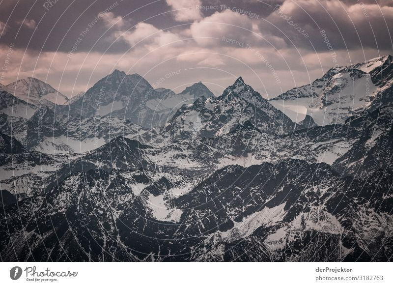 Panoramic view from the Zugspitze Environment Nature Landscape Plant Animal Autumn Bad weather Alps Mountain Peak Snowcapped peak Glacier Old Esthetic Endurance