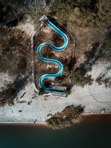 Blue sea snake :: Water slide in low season Leisure and hobbies Playing Vacation & Travel Tourism Freedom Sports Swimming & Bathing Swimming pool Environment