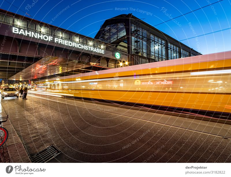 Night train at Friedrichstraße station Vacation & Travel Tourism Trip Sightseeing City trip Downtown Manmade structures Building Architecture Tourist Attraction