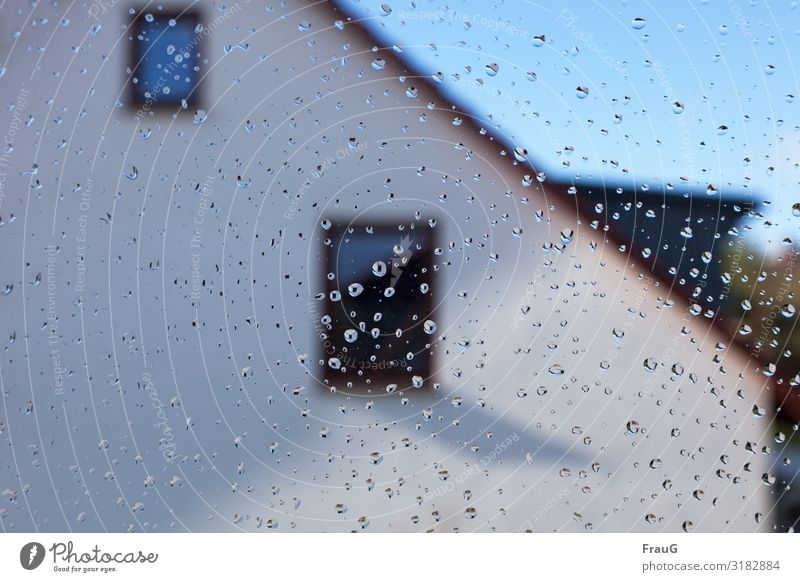 After the rain Sun Weather Rain Facade Window Drop Glass Wet Hope Drops of water Deserted House (Residential Structure) Light Shadow Day