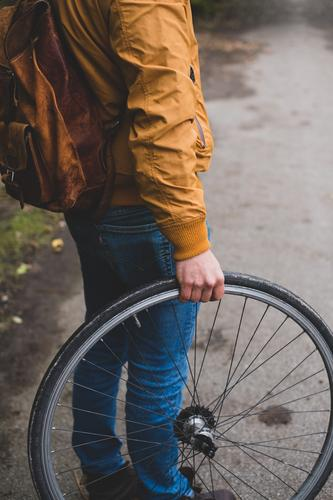 Human being Youth (Young adults) Man Young man 18 - 30 years Adults Autumn Lanes & trails Masculine Bicycle Wheel Environmental protection Tire Cycle race