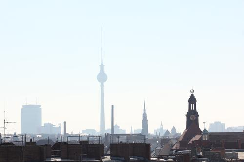 Berlin Prenzlauer Berg Town Capital city Downtown Old town Skyline Deserted House (Residential Structure) High-rise Church Tourist Attraction Television tower