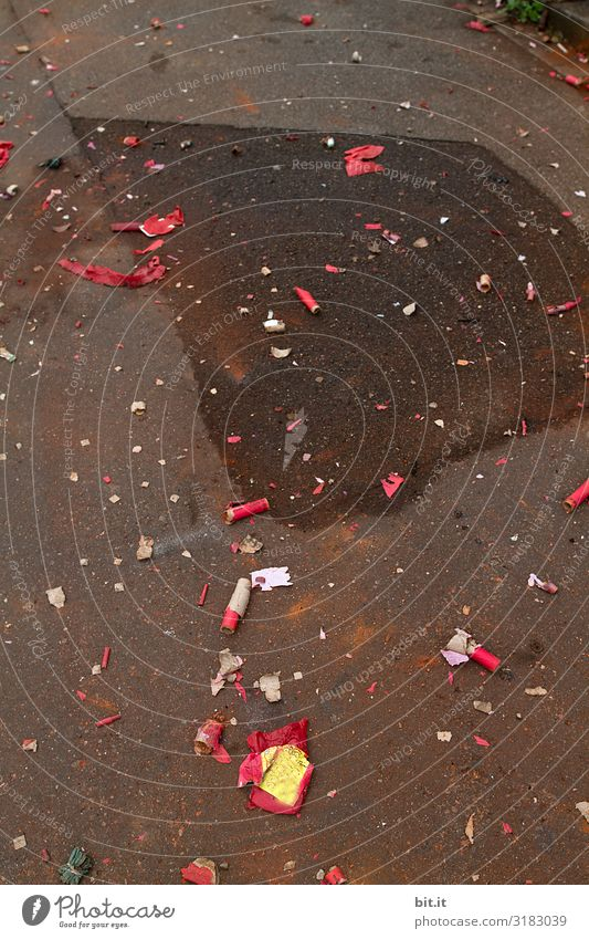 Street Lifestyle Feasts & Celebrations Dirty Sidewalk New Year's Eve Firecracker Environmental pollution Remainder