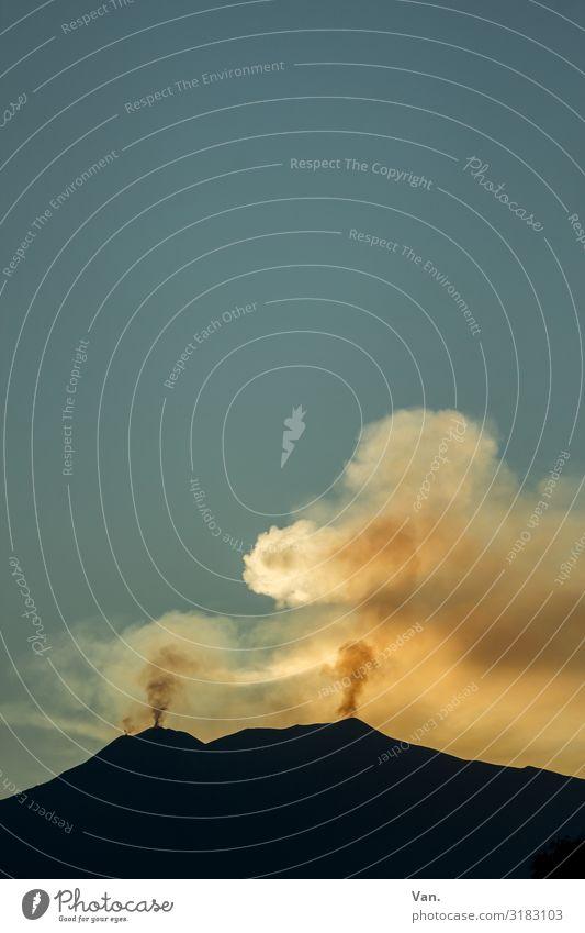 Sky Nature Blue Mountain Black Autumn Yellow Gold Beautiful weather Threat Peak Cloudless sky Smoke Smoking Sicily Volcano