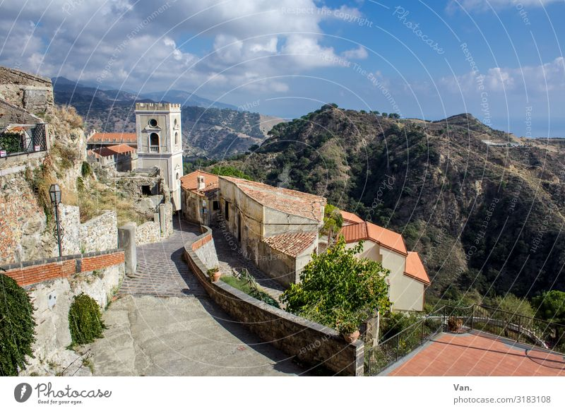 Savoca Sky Clouds Tree Hill Rock Mountain Sicily Italy Village House (Residential Structure) Church Tower Wall (barrier) Wall (building) Authentic Colour photo