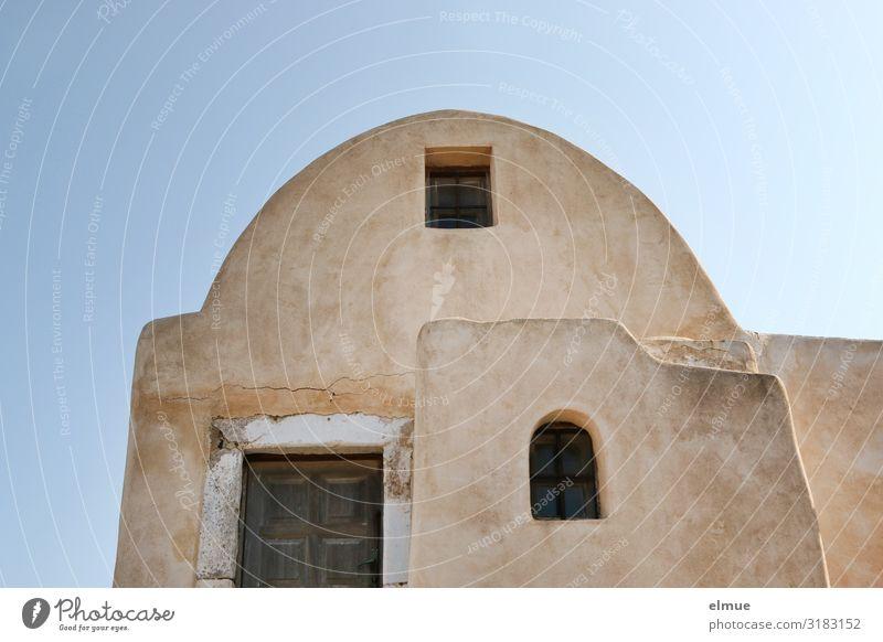 habitation Vacation & Travel Greece Santorini Village Detached house Dream house Building Architecture Facade Authentic Simple Historic Uniqueness Contentment