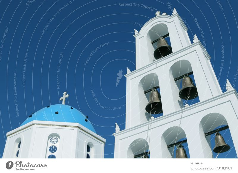 Greece Vacation & Travel Tourism Trip Sightseeing Cruise Sky Beautiful weather Santorini Church Bell tower Domed roof Landmark Authentic Bright Blue White
