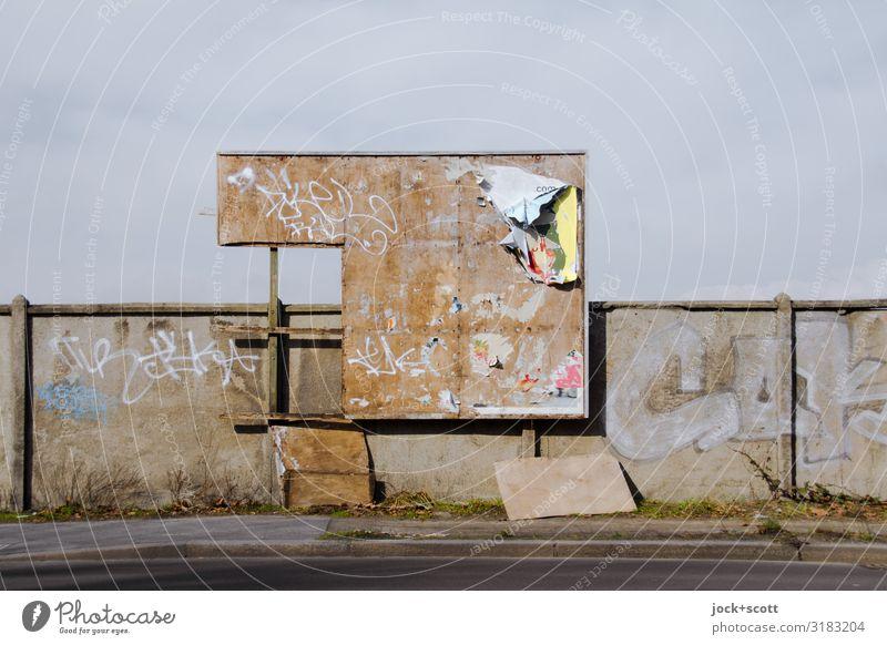 broken billboard Street Wall (building) Wall (barrier) Beautiful weather Broken Sidewalk Street art Hideous Billboard Pankow