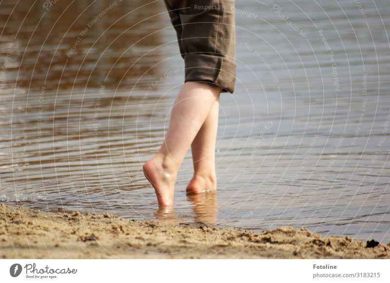Child Human being Nature Summer Water Legs Environment Cold Natural Feminine Coast Feet Lake Swimming & Bathing Brown Sand