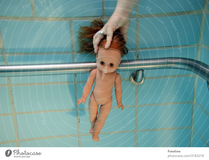 diving education Elements Water Bright Near Naked Wet Blue Brown Silver Doll Hair and hairstyles Swimming pool Dive Swimming & Bathing Handrail Arm Legs Head