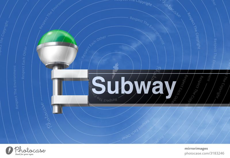 looking up at a New York City modern green and white globe subways sign with blue sky Transport Railroad Underground Sphere Line Globe Retro Clean bronx