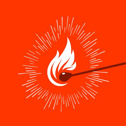 graphic illustration of a lighted wooden matchstick Design Art Wood Hot Bright Red Logo vector fire Icon Illustration flame isolated ignite Spark