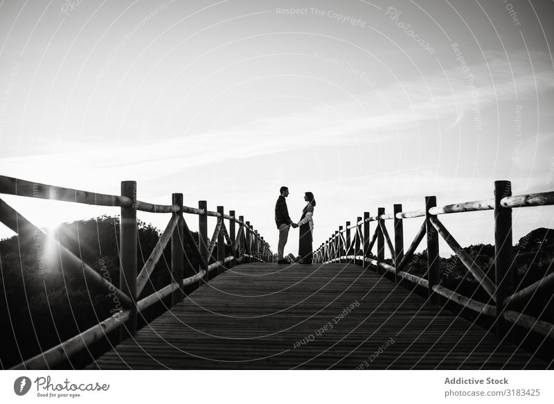 Couple on bridge against sunset sky Bridge Sunset Sky Love Date holding hands Pregnant Happy Showing one's bellybutton Adults tender Relationship Man Woman