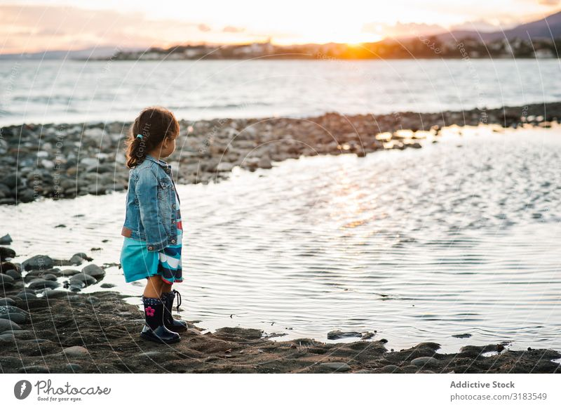 small girl by the beach Girl Child Beach Sunset Silhouette Stand Ocean Freedom Summer Lifestyle Vacation & Travel Human being Joy Happiness Love