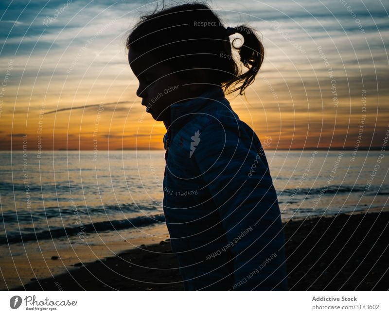 little girl silhouette at beach sunset Girl Silhouette Small Sunset Child Beach Exterior shot Nature Human being Happy Summer Water Lifestyle Happiness Joy