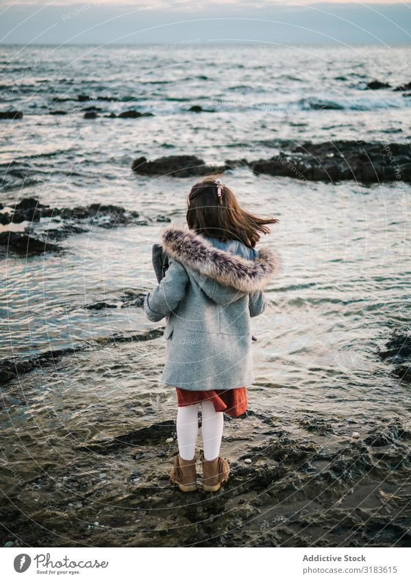 back view of little girl looking at sea Beach Girl Vantage point Looking Freedom Ocean Back Small Delightful Winter Stand Child Sand Water Vacation & Travel