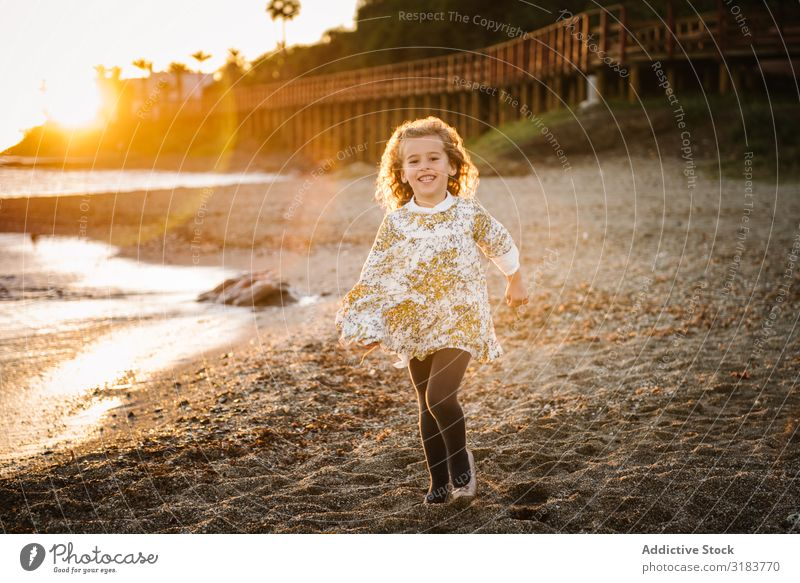 portrait of cute little girl at beach Small Girl Child Portrait photograph Beach Nature Cute Joy Beautiful Happy Infancy Summer Youth (Young adults) Lifestyle