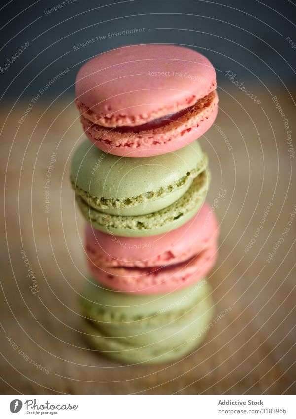 bright fresh tasty macaron biscuits on wooden board Heap Macaron Multicoloured Delicious Accumulation Board Fresh Tasty Pink Cookie Bright yummy flavour
