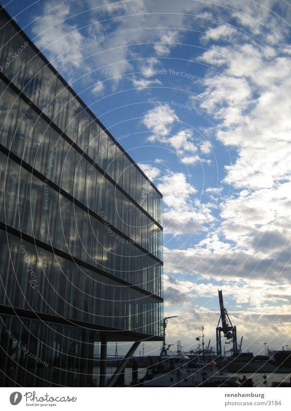 Sky Water Clouds Architecture Hamburg Harbour Crane Harbor city