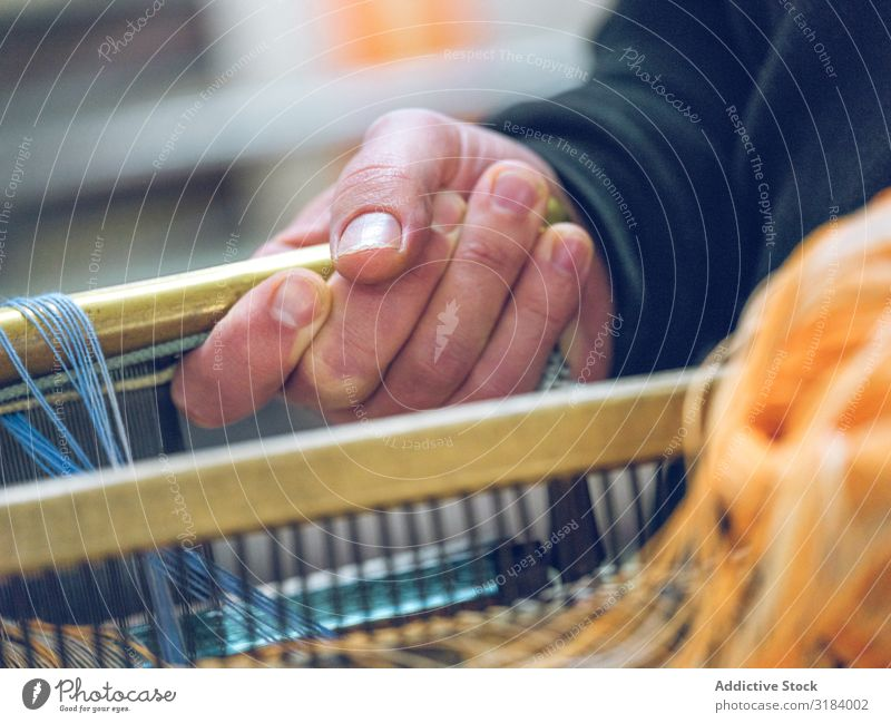 Crop weaver working with thread Weaver Thread Spinning Frame Wood Craft (trade) Self-made Old Story Tile textile Wool Cotton Shabby Weathered Process occupation