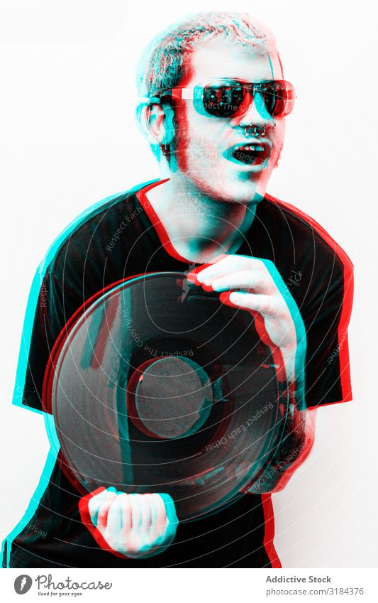 Three-dimensional photo of man with vinyl record Man Hipster Record Happy Hold Lifestyle Youth (Young adults) handsome Successful Cool (slang) Joy Cheerful