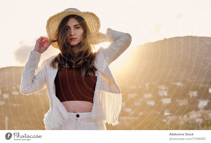A long hair fashion model with a hat at the beach at sunset in a summer day Woman Thin Beautiful Beach Blue Gorgeous Eroticism Fashion Perfect Vacation & Travel