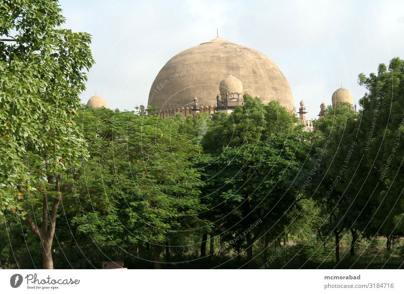 Dome behind Greenery Style Design Plant Tree Building Architecture Balcony Monument gol gumbaz dome Arena second biggest Tomb graves Burial site tombstone